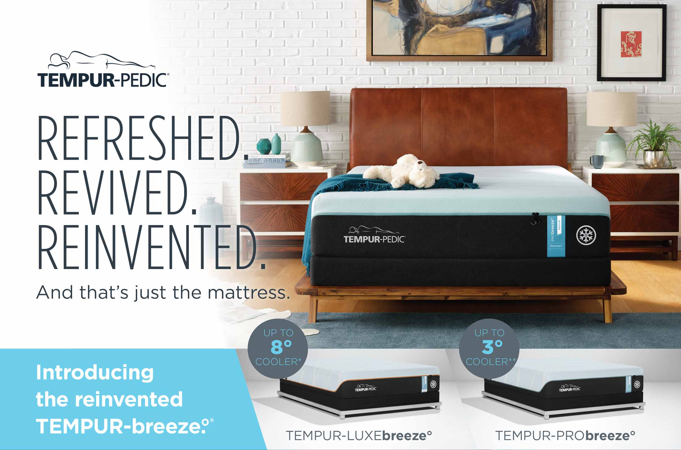 Mattresses from DeMeyer Furniture. Image is an advertisement fro a Tempur-Pedic and Tempur-Breeze beds.